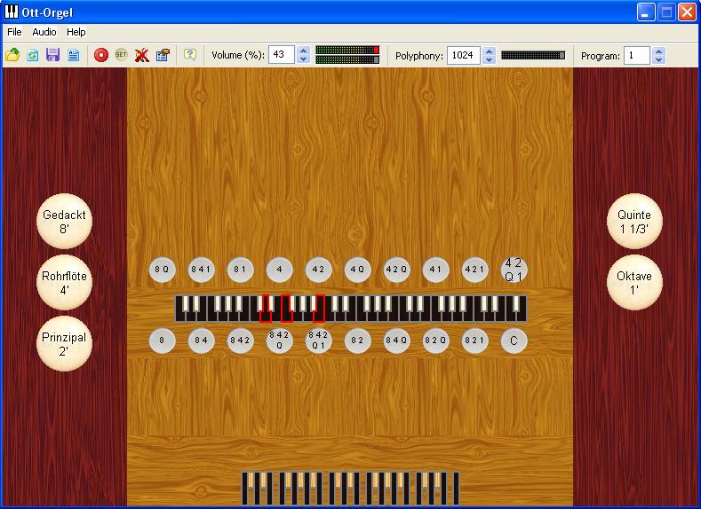 Myorgan met het 1 klaviers Ott organ