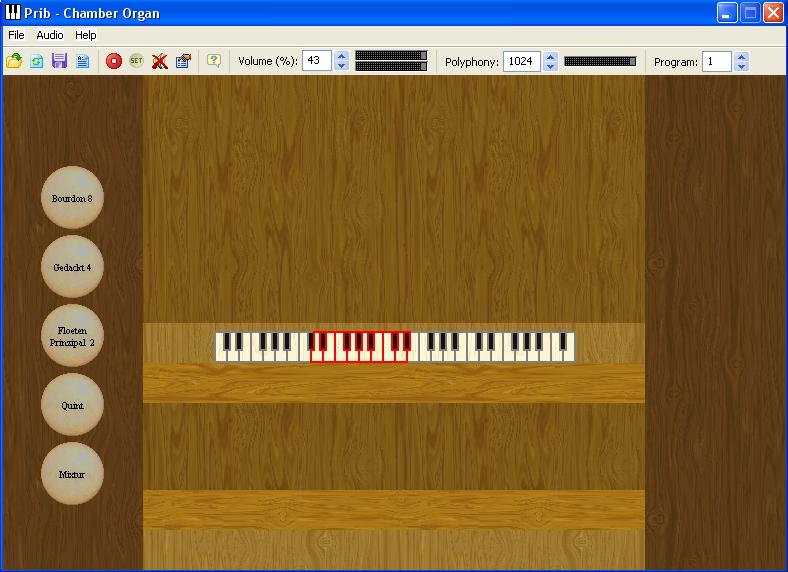 Myorgan met het 1 klaviers kamerorgeltje