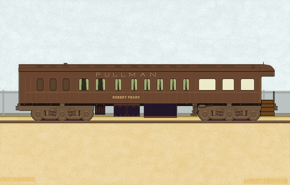 Digital drawing of a Pullman palace car/digitale tekening van een Pullman palace wagon